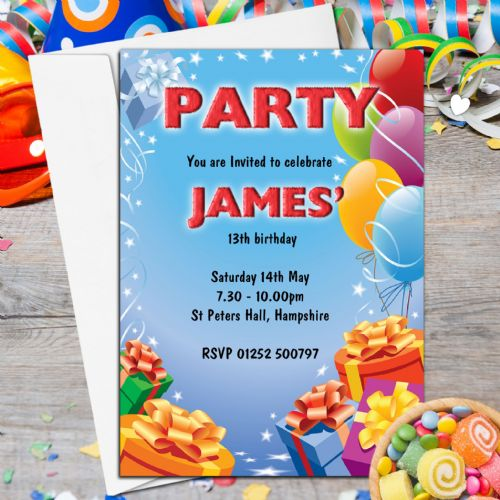10 Personalised Balloons Birthday Party Invitations P205